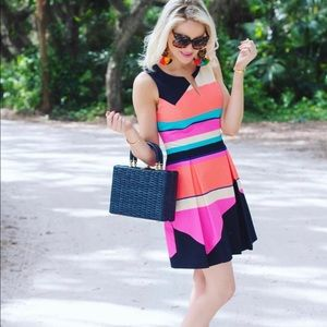 Julie Brown Neon Graphic Fit and Flare Dress